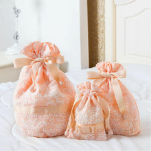 Women's Lace Drawstring Cosmetic Bag Set Makeup Case Pouch Travel Organizer Beauty Brushes Toiletry Storage Accessories Supplies