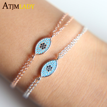 2017 Rushed Prong Setting Women New 925 Sterling Turquoises Evil Eye Cute Double Chain Girl Lady Jewelry Adjust Size Bracelet