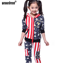 Jacket+Pants Children's Sets Stars and Stripes Flag Suits for Girl Kids Long Sleeves Hooded Baby Boys Clothes  4-12T