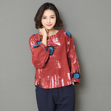 2018 New Spring And Autumn Cotton And Linen Loose Shirts Womens Print Butterfly Ethnic Style Top Women Casual Vintage Blouse(China)