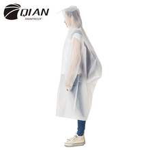 QIAN RAINPROOF Impermeable Raincoat Women Transparent EVA Waterproof Trench Coat Backpack Position's Poncho Rainwear Rain Gear