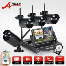 "4CH CCTV System Wireless NVR 7"" LCD Screen P2P Cloud 720P HD IR Outdoor IR WIFI IP Camera Security Camera 1TB HDD & Email Alarm"