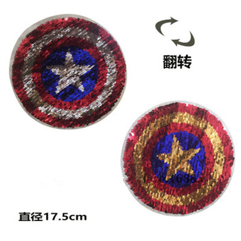 2017 NEW Captain shield Reversible Change color Sequins Sew On Patches for clothes DIY Patch Applique Bag Clothing Coat Sweater