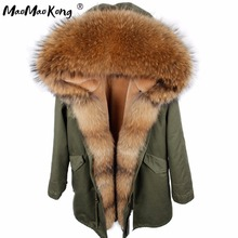 MAO MAO KONG 2017 new winter long jacket parkas Camouflage Army green raccoon fur collar hooded parkas thick coat real fur(China)