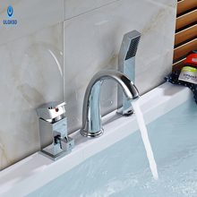 Ulgksd 3pcs Bathroom Faucet Bathtub Mixer Faucet W/ Hand Shower Mixer Taps Bathroom Chrome Brass Water Tap Hot and Cold Water(China)