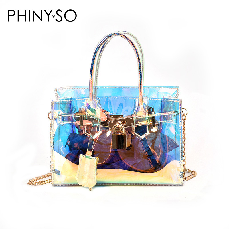 2018 Newest Fashion Transparent laser woman handbag candy bag Plastic good quality BK lock shoulder bags casual style<br>