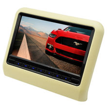 9 Inch Car Headrest DVD Player Monitor With 800x480 Screen Built-in Speaker Support USB SD Games Remote Control Beige Color(China)