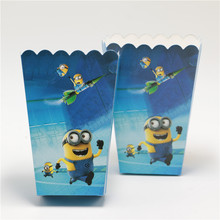 high quality 10pcs/lot popcorn box/cup minions theme party decoration happy birthday party supplies baby shower favor