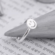 sterling-silver-jewelry ring smile ring Fresh Literature sweet fashion simple woman sterling silver jewelry ring