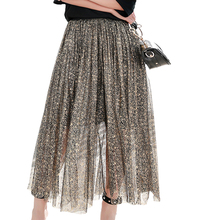 New Spring Summer 2017 Shiny Mesh skirt Women Empire Elastica Waist Long Pleated Skirts Loose Solid Slim Ladies Maxi Skirt Gold