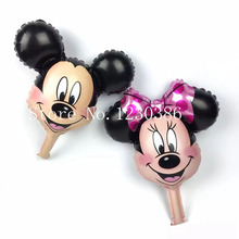 mini Minnie Mickey head balloon party foil baby boy girl balloons Birthday Party Decoration(China)