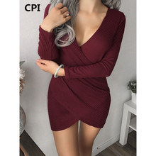 CPI 2017 the latest cheap V-neck crossed long-sleeved pit braided knit dress autumn and winter wear fashion casual short dress(China)