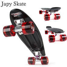 Japy Skate 22 Inches Four-wheel Street Long Skate Board Mini Cruiser Fish Skateboard With 9 Colors For Adult Children(China)