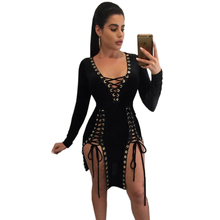 Dower Me Women Clothing Ladies Night Wear Out Club Dress Sexy Party V Neck Cross Open Front Lace Up Long Sleeve Bodycon Dresses