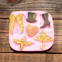PRZY Fondant cake silicone mold knight wind wings Bee Key for cake decorations