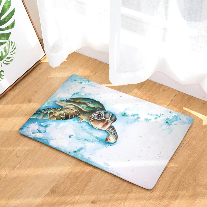 Flannel Floor Mats Big Turtles Printed Bedroom Living Room Carpets Cartoon  Pattern Mat for Hallway Anti-Slip Tapete 409d81da16a
