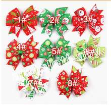 Hot selling 16pcs 3inch Christmas Ribbon Hair Bows WITH CLIP for Christmas Party Decoration Boutique Hair Bows HD3291