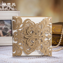 Wishmade Golden Laser Cut Flora Wedding Invitations Elegant Hollow Bronzing Foil Wording Party Decoration Mariage Cards CW3109(China)