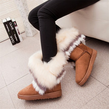 Fox Fur Warm Autumn Winter 웨지 눈 Fox 눈 Women 호주 Boots Shoes GenuineI Mitation Lady Short Boots 캐주얼 긴 눈(China)