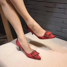 New arrivals Women Fashion Wedding Shoes/Silk surface with crystals/10 cm high heels/elegant party shoes(China)