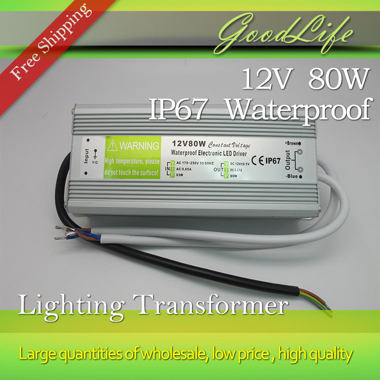 DC 12V 80W  IP67 Waterproof  LED Driver outdoor use for led strip power supply,Lighting Transformer,Power adapter,Free shipping<br><br>Aliexpress