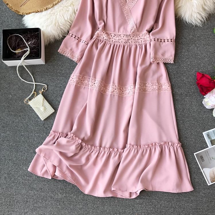 Women Bohemian Dress Lady Half Sleeve V Neck Red and White Beach Holiday Elegant Vestidos E152 8 Online shopping Bangladesh