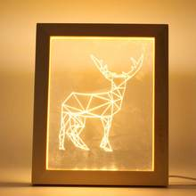 Illuminated 3D LED Night Lamp Desk Table Lamp For Bedroom Home Night Light Photo Frame Deer Christmas Gifts(China)