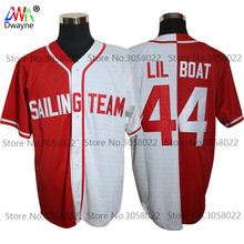 2017 Cheap Throwback Baseball Jersey Lil Yachty Lil Boat 44 Sailing Team BUTTON DOWN JERSEY All Stitched Split Red White For Men(China)