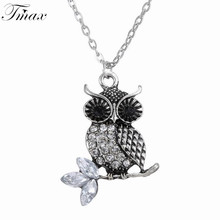 TengMaxi Vintage Trendy Statement Owl Pendant Crystal Necklaces Cute Owl Necklace Jewelry For Gifts Long Pendant(China)