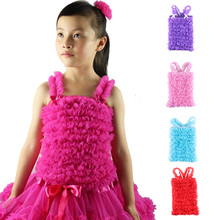 Wennikids Hot Sale Little Princess Girl's Solid Color Pettitop Chiffon Petti Tops/ Tank Matching To Pettiskirt, Kids Soft Tees