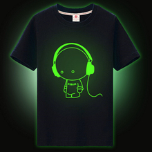 2017 new trend boys and girls stars children T-shirts boys and girls in the night luminous T-shirt boys Sport Short t-shirts