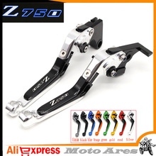 8 Colors CNC Adjustable Motorcycle Brake Clutch Levers Logo Z750 for Kawasaki Z750 (not Z750S model) 2007 08 09 2010 2011 2012(China)