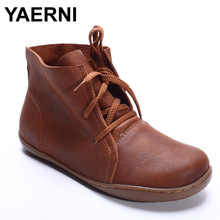 YAERNI (35-42)Women Ankle Boots Hand-made Genuine Leather Woman Boots Spring Autumn Square Toe lace up Shoes Female Footwear(China)