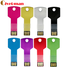 Mini metal Aluminium key shape USB flash drive 8GB 16GB 32GB 64GB usb memory stick 128GB Pendrive Flash Drive(China)