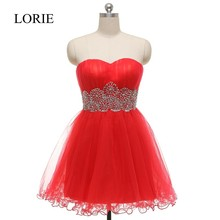 Open Back Red Prom Short Dresses 2016 Sweetheart Empire Waist Beaded Tulle Homecoming Cheap Cocktail Party Dresses Plus Size(China)