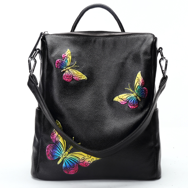 BEWITU Famous Brand Women Backpack Genuine Cow Leather Women Bag Ladies Small Butterfly Backpack Teenager Girls School Bags<br>