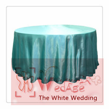 seamless-10pcs 120'' Round Satin  Tablecloths for Weddings round  aqua color  table cloths