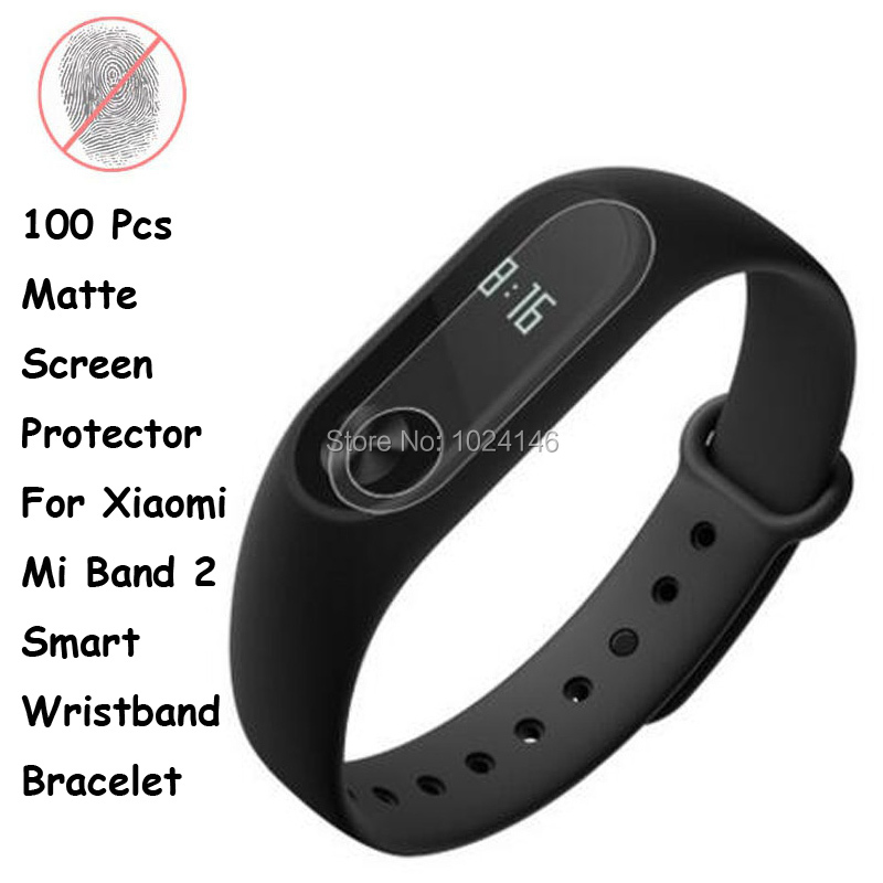 New 100 Pcs/Lot Anti-Glare Matte Screen Protector Xiaomi Mi Band 2 Smart Wristband Bracelet Film Guard Cleaning Cloth