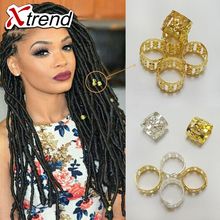 100Pcs/Lot mix Silver Golden Plated hair braid dread dreadlock beads adjustable cuff clip 8mm clip+ 5pcs free beads