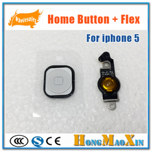 Original For Apple 5G Home Button Key with Flex Cable Assembly For iPhone 5 Repair Parts Black White