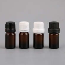 36pack 1/6 fl oz 5ml Amber Essential Oil Glass Bottle Vials with Orifice Reducer and black big tamper evident cap