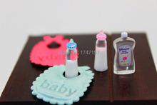 1:12 Doll House Dollhouse Miniature Baby Bottles Bib Body Wash Accessories for Baby Furniture Bedroom Decoration Sets(China)