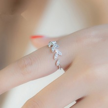 Rings for Women Silver leaves open ring influx people under the index finger little finger fashion Korean version jewelry