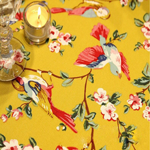 Pastoral 100% Cotton table covers for home yellow flowers birds printed table cloth dust proof table decoration high quality