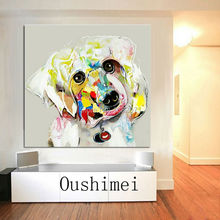 Strong Painter Team Hand-painted High Quality Modern Dog Oil Painting On Canvas Hand-painted Animal Dog Decorative Painting