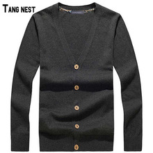 TANGNEST Men Cardigan 2017 New Arrival Men's Casual Solid V-neck Knitted Cardigan Male Single Breasted Solid Cardigans MZL496