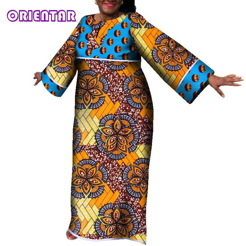 Traditional African Dresses For Women Long Maxi Dress Autumn Casual Cotton Print Women Clothing Private Custom Plus Size WY118