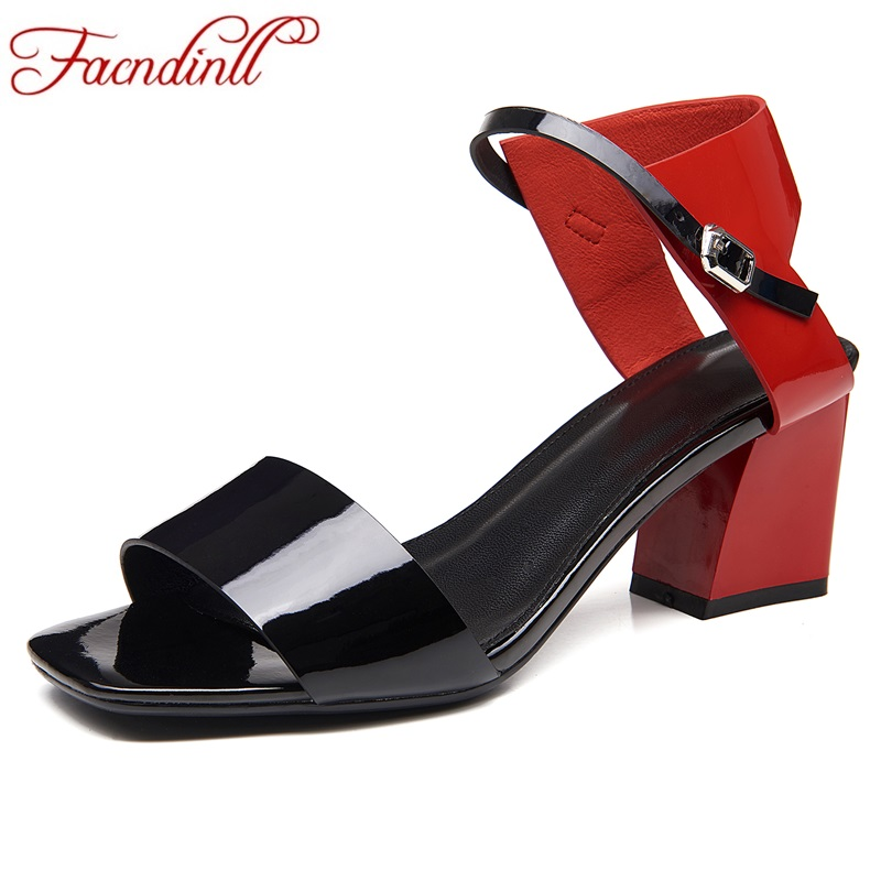 FACNDINLL fashion patent leather summer shoes woman gladiator sandals thick high heels sexy open toe women wedding dress shoes<br>