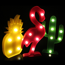 Romantic Table Lamp Lighting Luminaria Marquee Letter Nightlight Battery Powered 3D Flamingo Pineapple Cactus Night Lamp