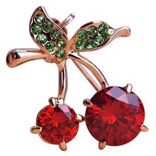 Madrry Cute Red Cherry Brooches For Women Prong Setting Crystal Broches Gold Color Broach Dress Scarf Pins Suit Brooch Pin Gifts